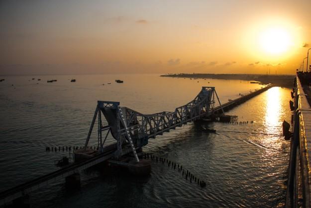 Pamban Rail Bridge Sun Rise