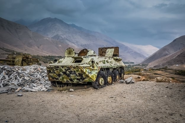 Photo of large old tank in Panjshir in Afghanistan