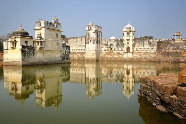Reflections of Padmini's Palace, located inside the fort (Garh) of Chittorgarh, Rajasthan, India
