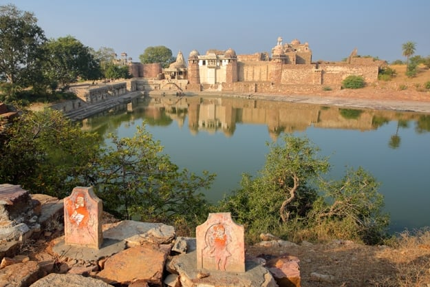 Reflections of Ratan Singh Palace located inside the fort (Garh) of Chittorgarh, Rajasthan, India