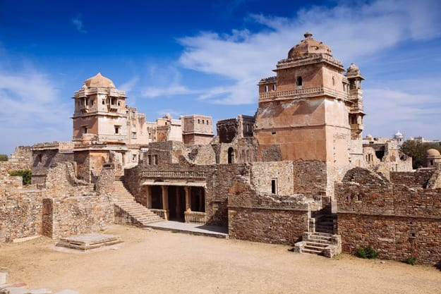 Ruins of Rana Kumbha Palace in the fort of Chittor. Chittorgarh (fortress of Chittor) is the largest fort in India & Asia. It is on UNESCO World Heritage Sites list as Hill Forts of Rajasthan. India