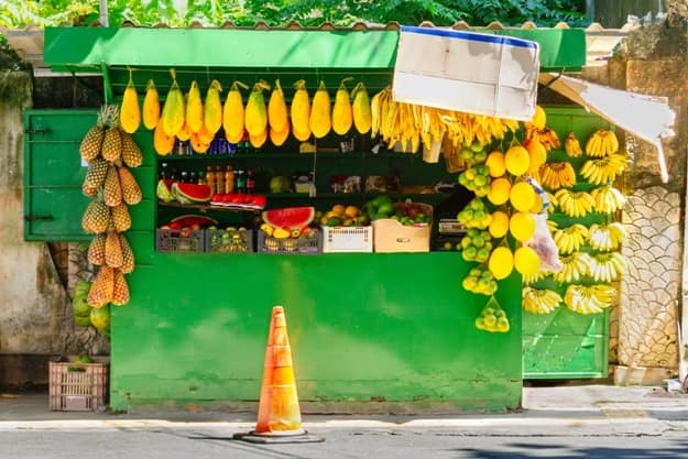 Street stall selling fruit in Salvador, Brazil