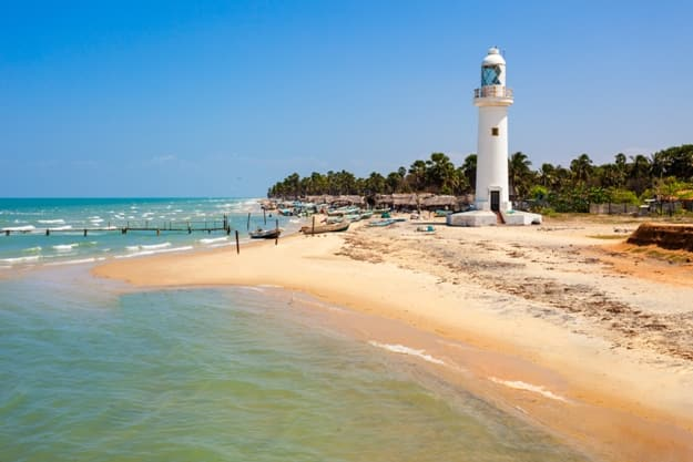 Talaimannar Lighthouse. Talaimannar is located on the northwestern coast of Mannar Island and about 18 miles from Dhanushkodi indian town