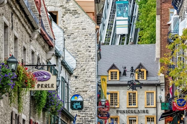 The Old Quebec Funicular is an old cable railway that served the city for over a century in Old (Vieux ) Quebec City in Quebec province, Canada