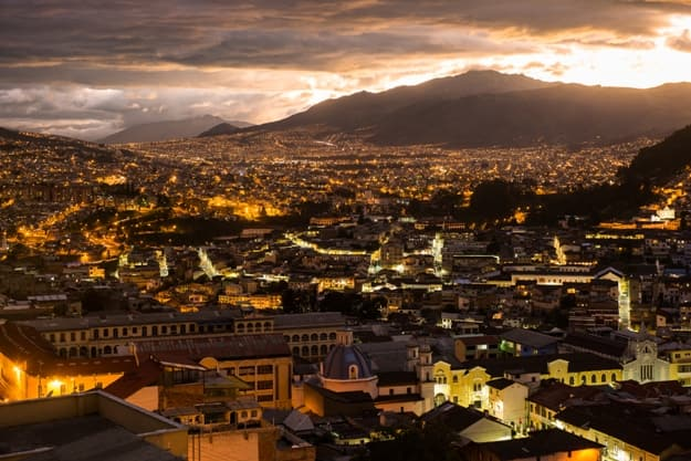The city of Quito in Ecuador by night