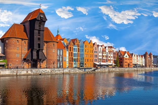The riverside with the characteristic promenade of Gdansk, Poland