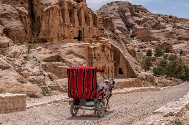 Tourist transport (carriage) near entrance to famous Petra site. Petra, Jordan