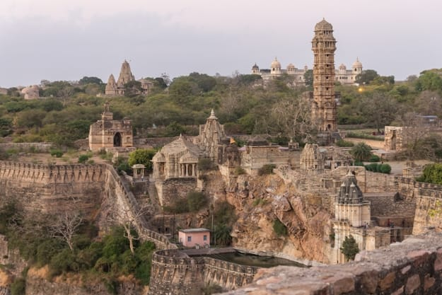 Tower of Victory, temples & palaces in the Chittorgarh fort in Rajasthan. The fort the largest in India & Asia. It is listed on the UNESCO World Heritage Sites list as Hill Forts of Rajasthan. India