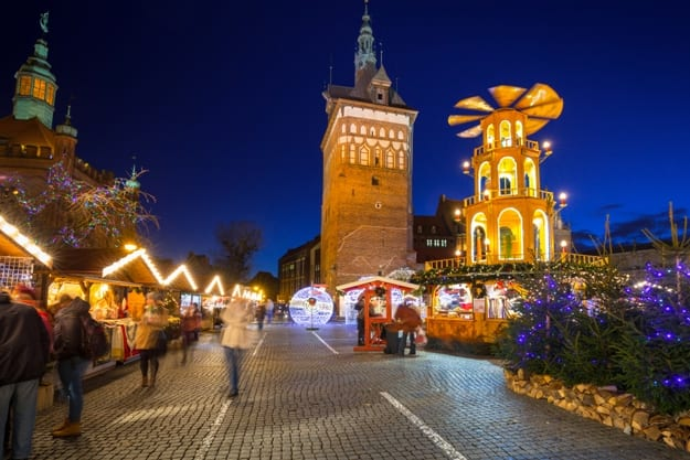 Traditional Christmas fair in the old town of Gdansk, Poland. Gdansk is the historical capital of Polish Pomerania with gothic architecture.