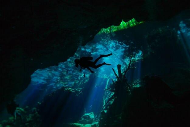 Underwater caverns in Mexico
