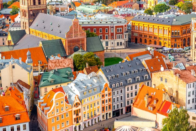 Top view on the old town with beautiful colorful buildings in Riga