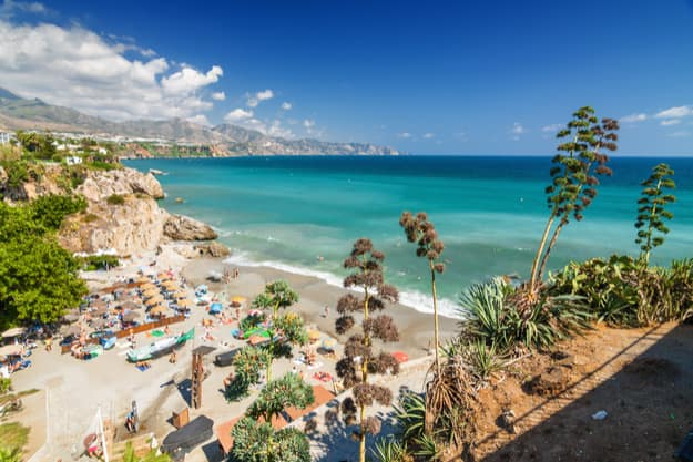Sunny view of Mediterranean sea from viewpoint of Europe's balcony in Nerja