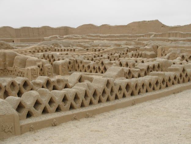 Fishnet-like carvings in Chan Chan, near Trujillo, Peru