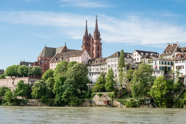 View up to the cityscape of Basel with its famous red sandstone cathedral