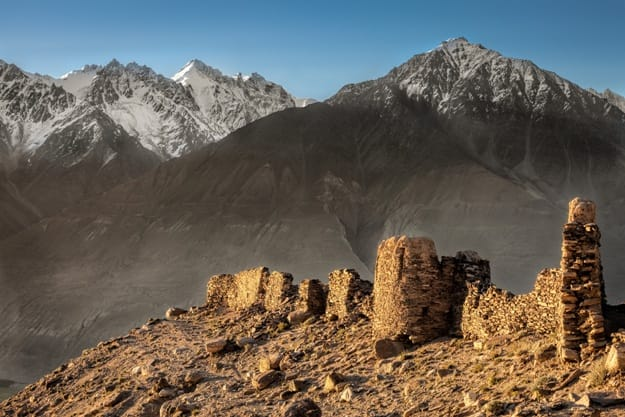 Yamchun Fort is the most visually prominent historic site in the Wakhan Valley in Gorno-Badakhshan Autonomous Province, Tajikistan. The mountains in the distance are in Afghanistan
