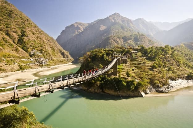 Beautiful island and Bridge On the way to manali