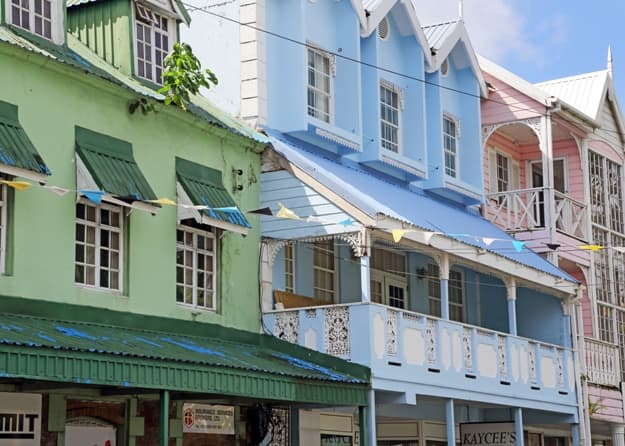 Colorful traditional buildings in Castries, St Lucia, West Indies