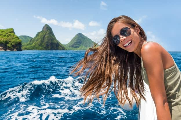 Fun on a boat ride towards the deux gros pitons, a World Heritage site