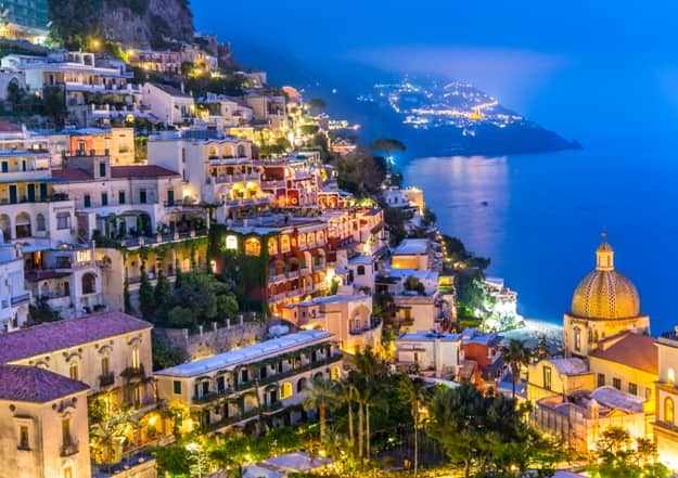 Night view of Positano village at Amalfi Coast, Italy