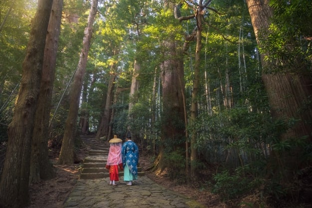 Pilgrim man and woman are hiking up the Daimon-zaka. The route, paved with stone and lined with massive evergreens, leads 600 meters up to the the gates of Nachi Taisha, Wakayama, Japan