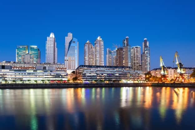 Puerto Madero Waterfront district night view in Buenos Aires, Argentina