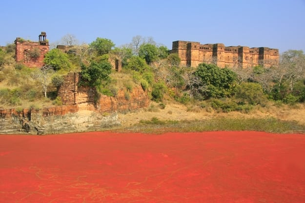 Ranthambore Fort and red lake, Rajasthan