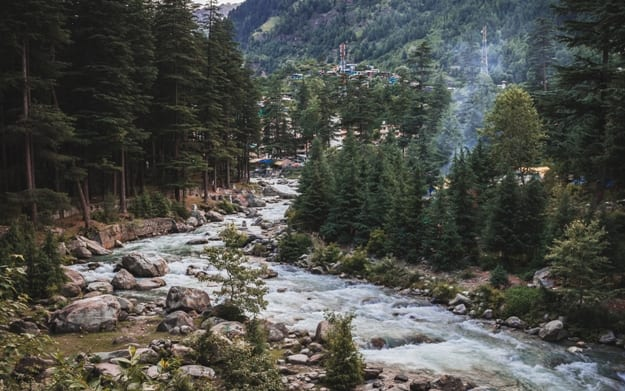 The Beas River in Manali, India.Himachal Pradesh (Country snowy mountains)