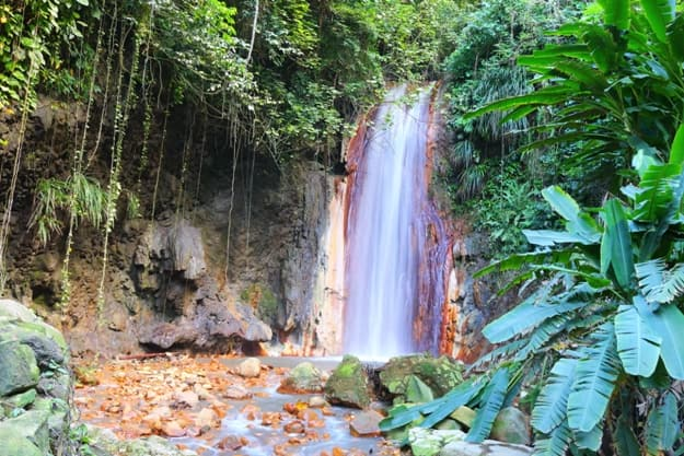 The famous diamond waterfall in the botanical gardens of St. Lucia