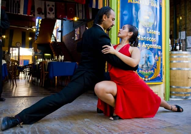 Unidentified couple dancing tango in the street in Buenos Aires Argentina on April 10 2009 - Tango has been on the Unesco intangible cultural heritage list since 2009