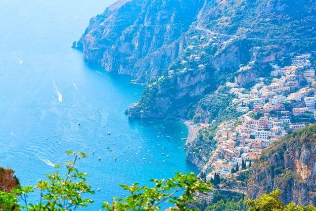 View of Path of Gods and Tyrrhenian sea and Positano, Amalfi coast, Italy