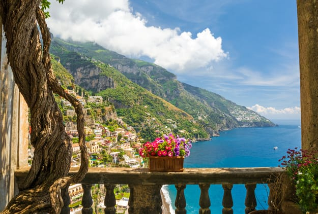 Beautiful view of Positano and the Amalfi Coast from an antique terrace
