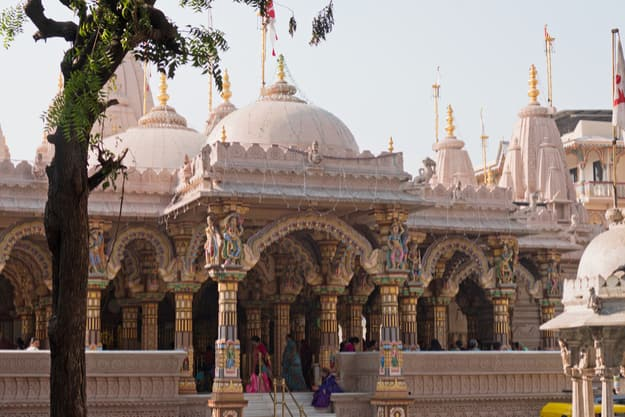 General view of the Hindu Shri Swaminarayan Temple in the old city of Ahmedabad in Gujarat