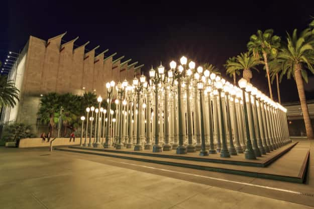 Night view of the famous art installation 'Urban light' at LACMA