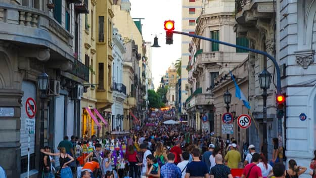 The famed San Telmo street market where Argentines gather to dance, drink and enjoy when the street is closed to traffic on Sunday