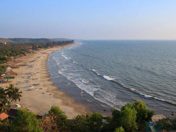 Full length view of the Arambol beach in Goa - Goa