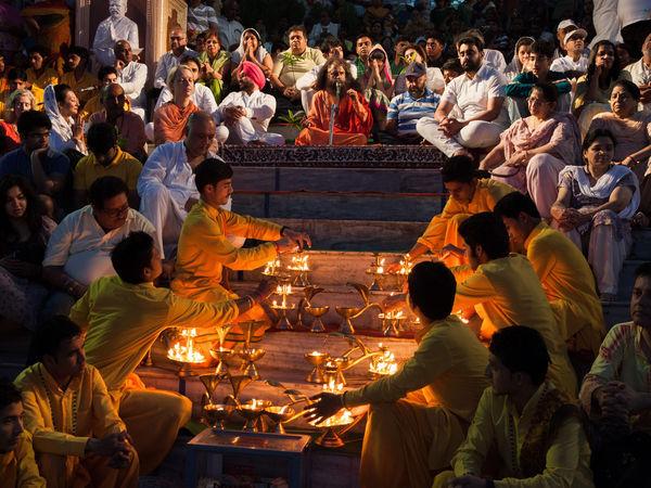 Ganga Aarti ceremony at Parmarth Niketan ashram - Rishikesh - Uttarakhand