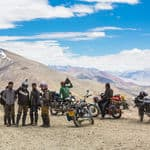 Bikers take a break on the Tanglang La pass over 5300m high in Ladakh - Ladakh - Jammu-and-Kashmir