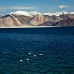Pangong Tso lake that extends from India to Tibet - Pangong-Lake - Jammu-and-Kashmir