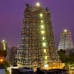 Meenakshi Temple lighted up in the evening - Madurai - Tamil-Nadu