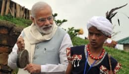 Prime Minister Narendra Modi tries his hand at drums in Mawphlang, Asia's cleanest village!