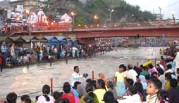 Devotees visit Har Ki Pauri Ghat to take a dip in the holy Ganga