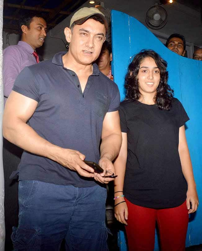 Aamir Khan Spotted With Daughter Ira Khan At Olive Bar And
