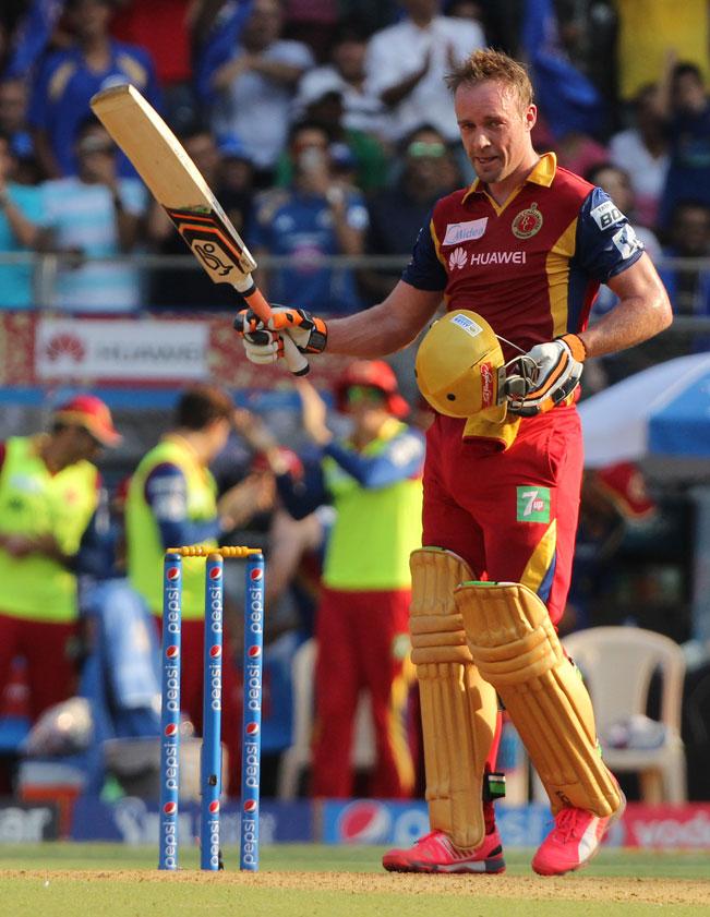 Bangalore batsman AB de Villiers celebrates his century during an IPL ...