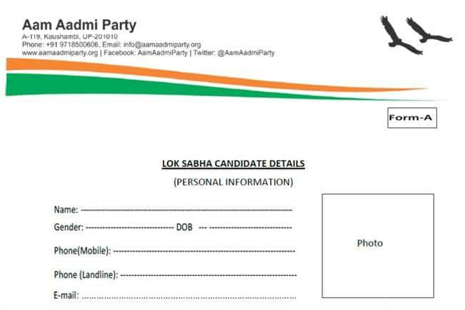 Aam Aadmi Party form