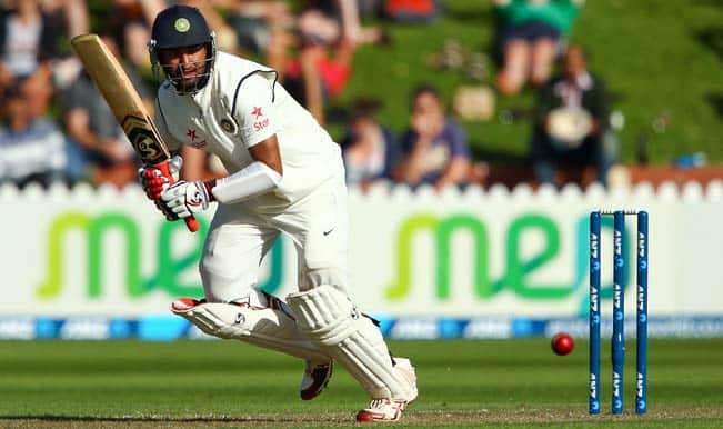 Cheteshwar-Pujara-of-India-bats-during-day-one-of-the-2nd-Test-match-between-New-Zealand