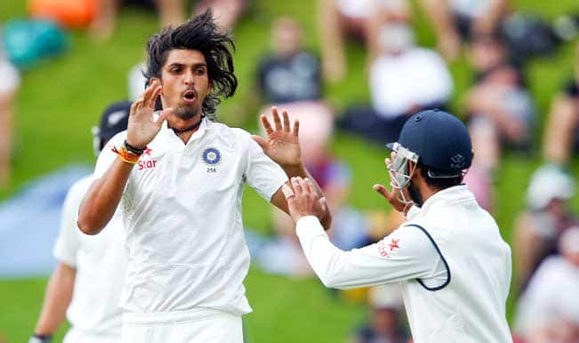 Ishant-Sharma-of-India-celebrates-after-taking-the-wicket-of-Hamish-Rutherford-of-New-Zealand-during-d