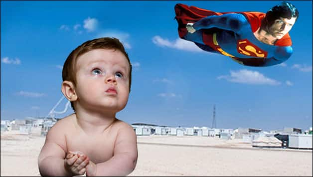 Watch this baby go crazy while watching Superman fly