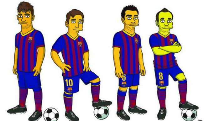 Neymar, Messi, Xavi and Iniesta get The Simpsons treatment before the Barcelona vs Manchester City Champions League clash