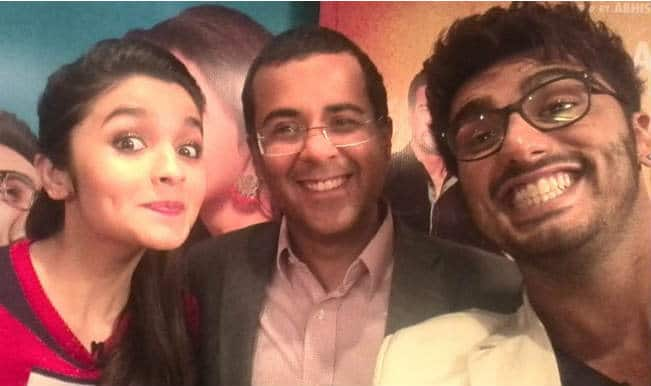 Snapped: Alia Bhatt, Arjun Kapoor pose for a selfie with '2 States' writer Chetan Bhagat!