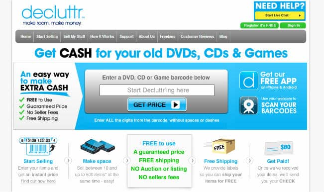 Decluttr: Get paid for your old CDs or DVDs that you don't need!